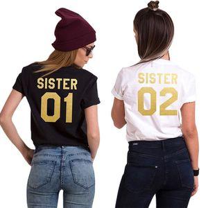 T-SHIRT Minetom Femme Best Friends T Shirt Blanc Noir Sist