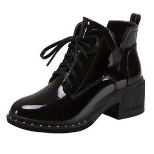 DERBY Fashion Femmes Round Toe Flat Lace-up Boots Casual