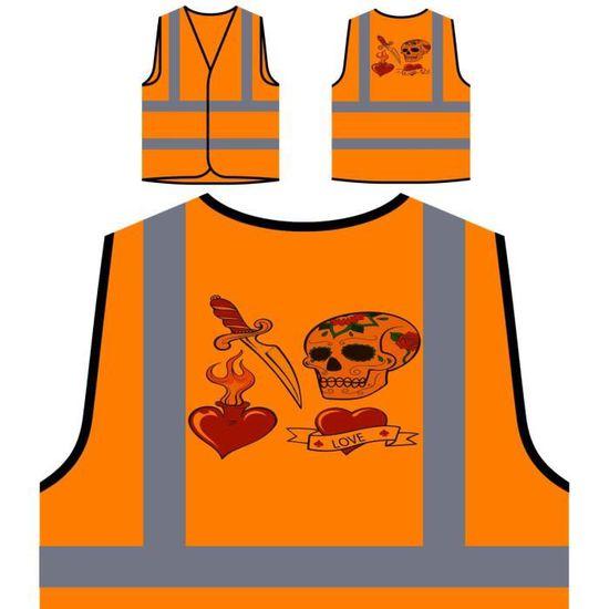Orange Protection Collection Visibilité De Veste Haute skull Tattoo À Personnalisée Dagger RAnExSFq