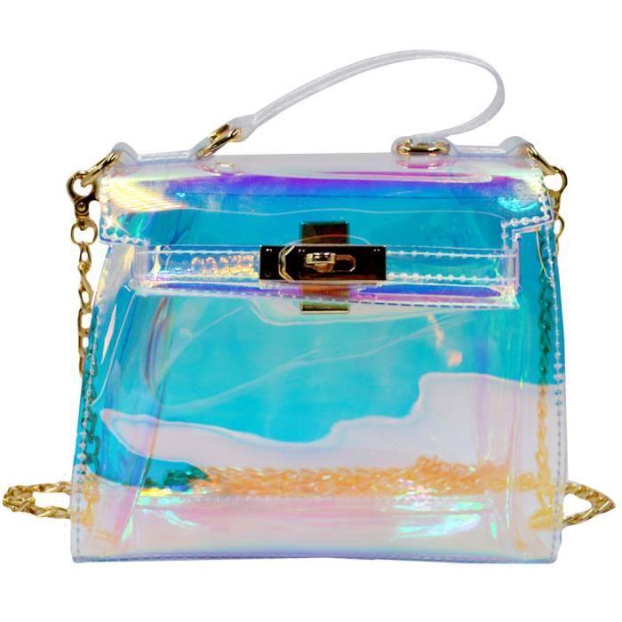 Sac fourre-tout clair transparent Hologram sac à main chaîne sac à bandoulière loisirs Sac de plage IR94Z