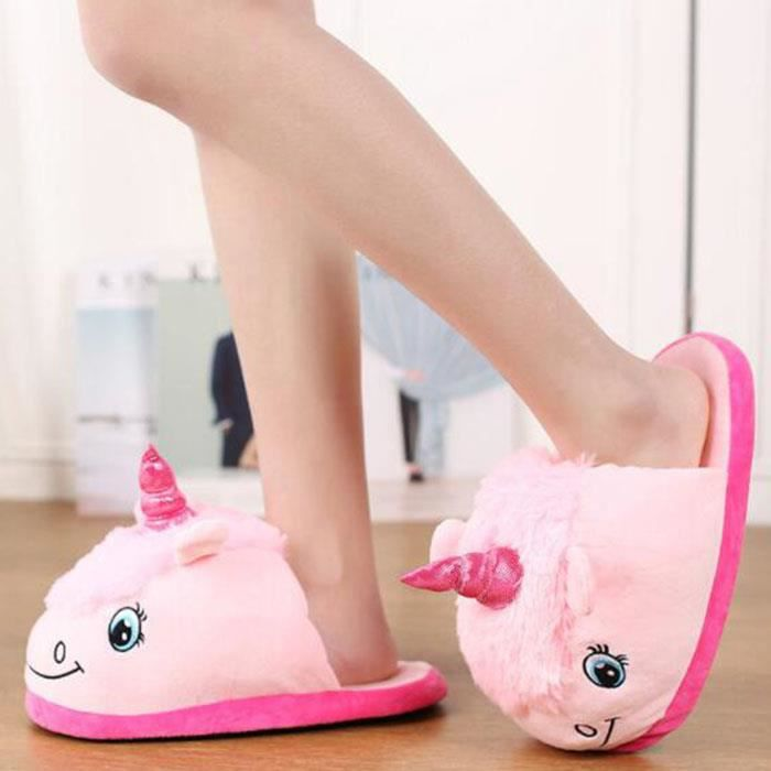 Femmes mode fantaisie rose pantoufles de licorne pantoufles en peluche de coton ORrNAxFLK