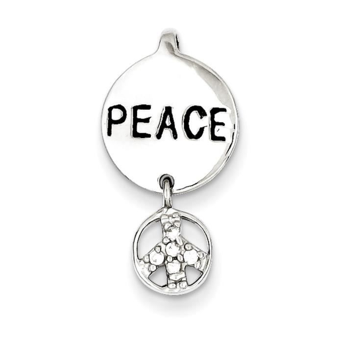 Argent Sterling CZ pendentif Peace and love Inspiration edG9z