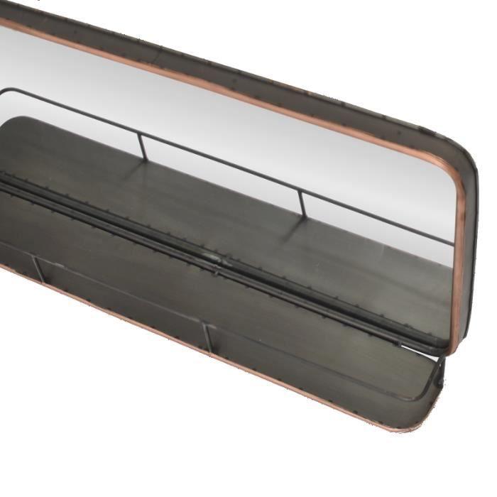 Miroir industriel tablette etag re mural fer m tal long 91 cm achat vente miroir soldes for Long miroir mural