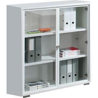 Meuble de bureau blanc avec 2 portes vitr es achat for Petit meuble de rangement bureau