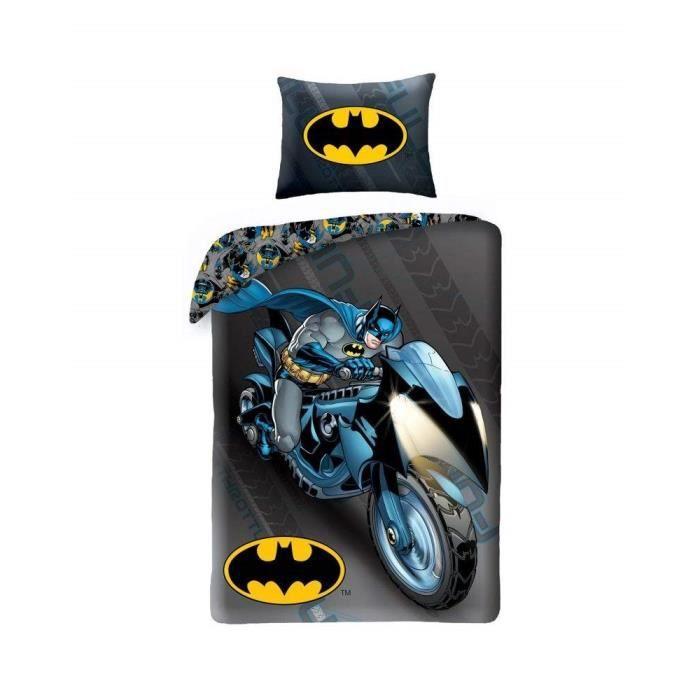 Batman Parure De Lit Moto 100 Coton Reversible Housse De Couette