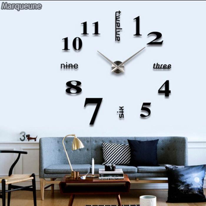 Grande Horloge Murale Autocollant Marqueune 3d Diy Pendule Murale