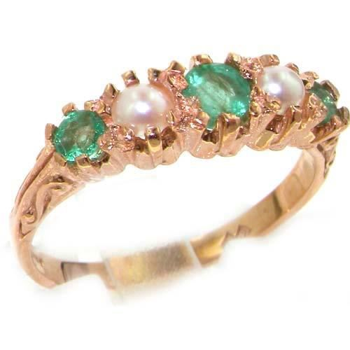 Bague pour Femme en Or rose 14 carats 585-1000 sertie d Emeraude Perle deau douce - Tailles 50 à 64