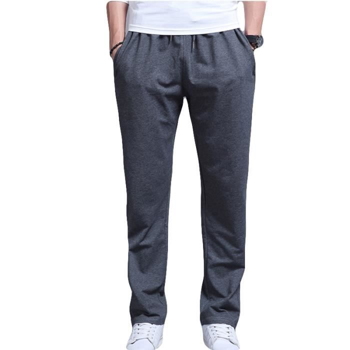 Pantalon de jogging Homme grande taille Droit Pantalon Homme VêTement  Masculin- Noir 344521a8a79