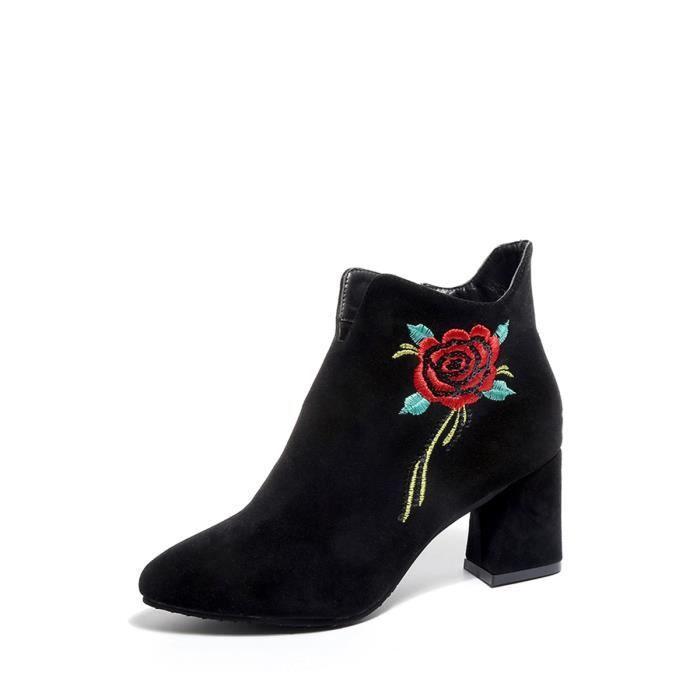 Bottes de femme Solide Couleur Retro Fleur Broderie cheville mode épais talon Chaussures bout pointu 9777970