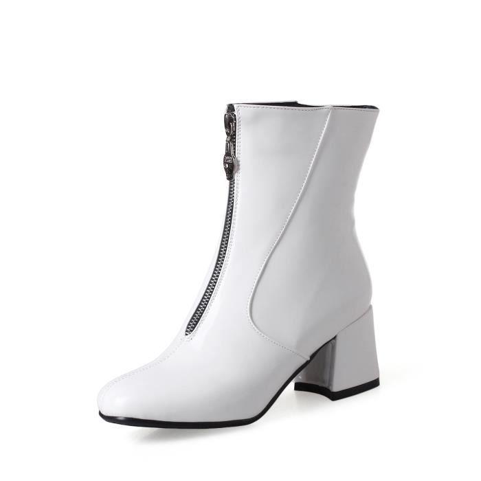 Femmes Bottine élégante couleur unie élégant talon épais tout le match Comfy Shoes 9822770