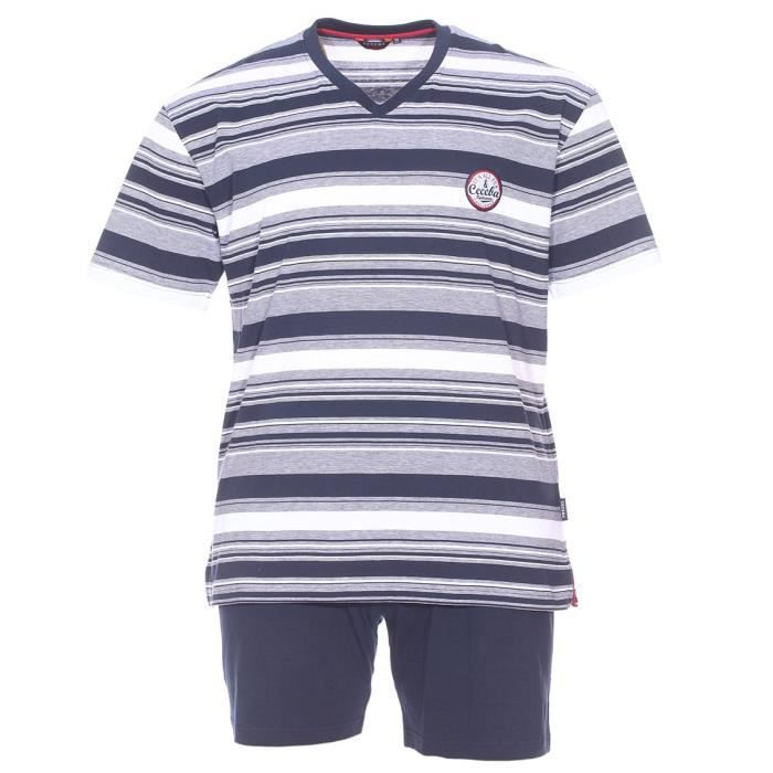91dd347439b8a Pyjama court grande taille Ceceba   Tee-shirt manches courtes à rayures  bleu marine et blanches et short bleu marine
