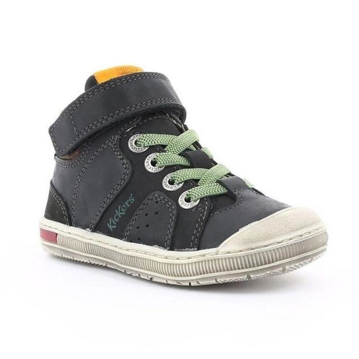factory une grande variété de modèles mode designer Kickers Baskets Garçon Noir Vert Lacets Elastique (30 - Fin - noir)