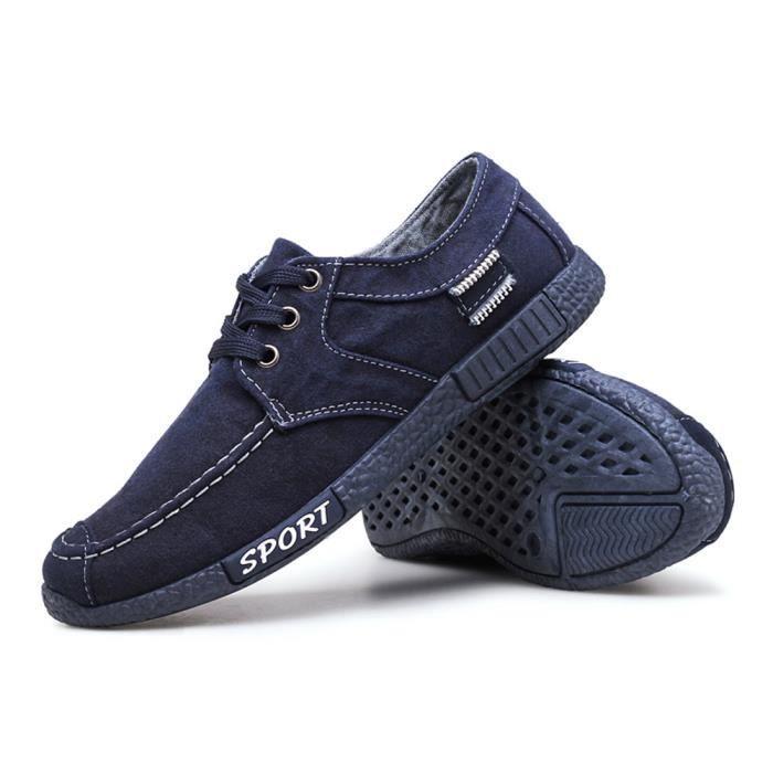Chaussures En Toile Hommes Basses Quatre Saisons Durable YLG-XZ132Bleu44 JeEQGt68Rs