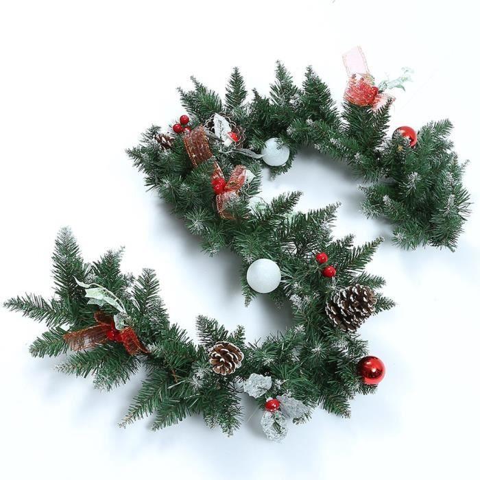 c9bcf5512d28c Guirlande de noël sapin - 1.8M 130branches avec pomme de pin petites  decorations - Deco de maison jardin (led ampoule non inclus)