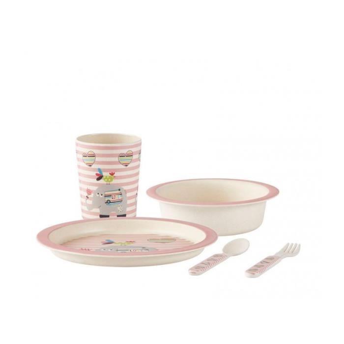 Coffret de Vaisselle Bébé 100% Écologique en Bambou 0,000000 Rose