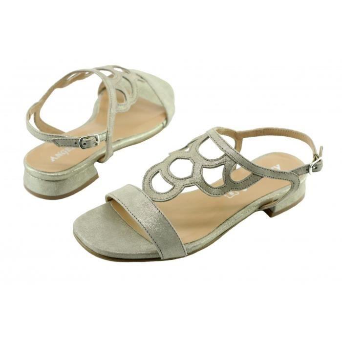 talon marque femme pieds petit cuir Paris chaussures nu glitter sandales Angelina argent Janick 0wE4IYqxn