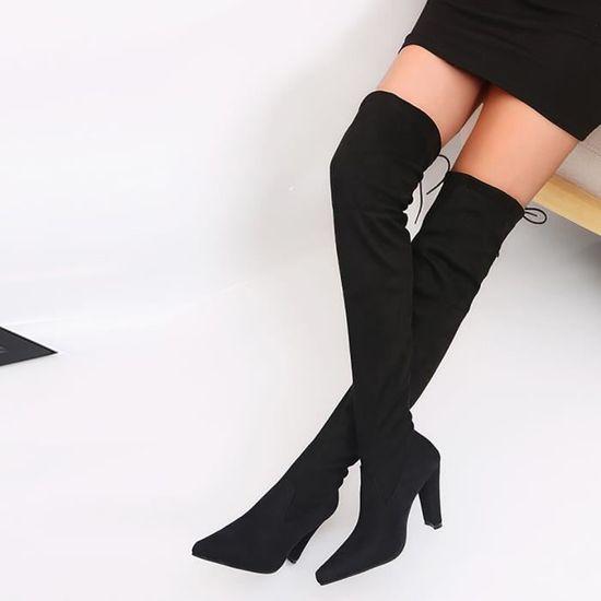 Femmes stretch Faux Slim Bottes Plus Cuissardes Talons Chaussures @Modehall8673