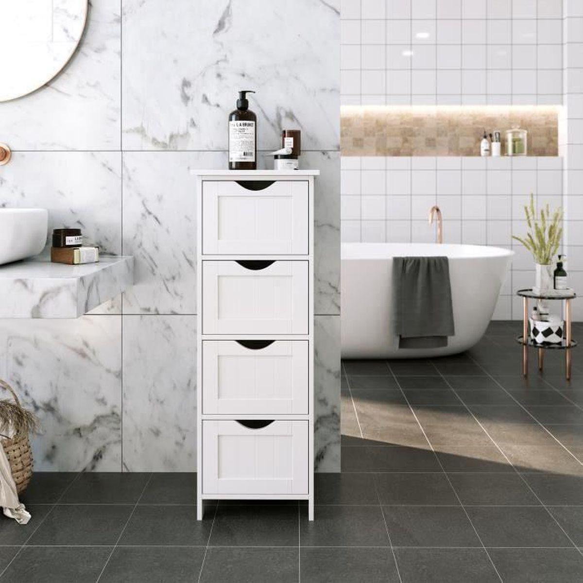 songmics meuble bas de salle de bain commode blanche avec 4 tiroirs pour l 39 entr e chambre. Black Bedroom Furniture Sets. Home Design Ideas