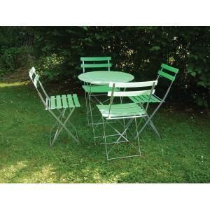 TABLE + 4 CHAISES PVC - VERT - Achat / Vente salon de jardin TABLE + ...