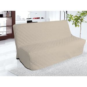 Canap tissu beige achat vente canap tissu beige pas cher cdiscount for Clic clac housse matelassee
