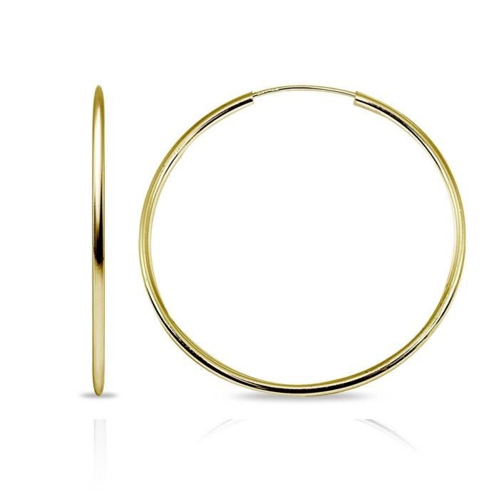 Womens 14k Gold High Polished Continuous Endless Round Hoop Earrings, All Sizes Available X5B2O