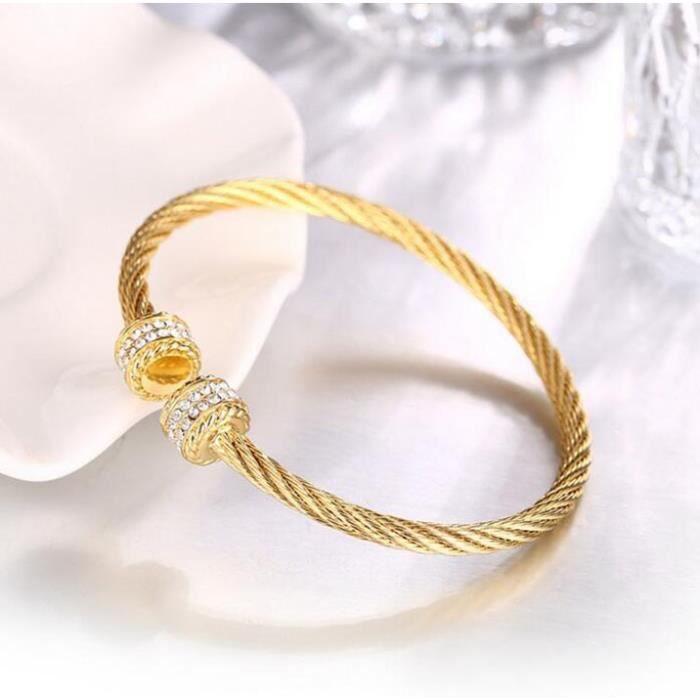BraceletLa platine de torsion de cable de forage à double rangée douvertures circulaires AAA bracelet