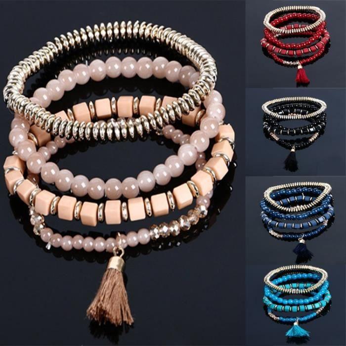 Perles en acrylique Multilayer Pl13 13 age Bracelet Bohème Folk Style de Glaze Bracelet