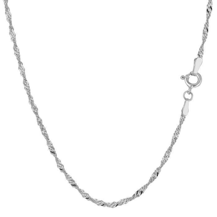 Collier- 14k or blanc Singapour, 1,7 mm, 16