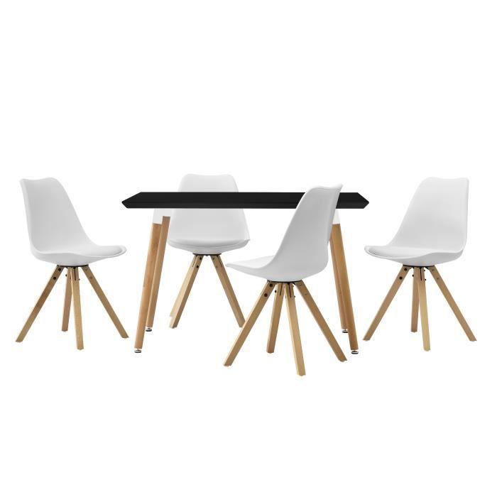 En Casa Table De Salle A Manger Avec 4 Chaises Blanc Rembourre
