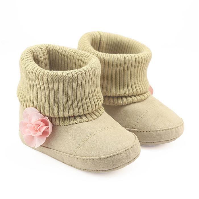 Enfants nouveau-né bébé filles garçons fleur berceau bottes semelle douce prémarcheur chaussures chaudes rouge qJbud