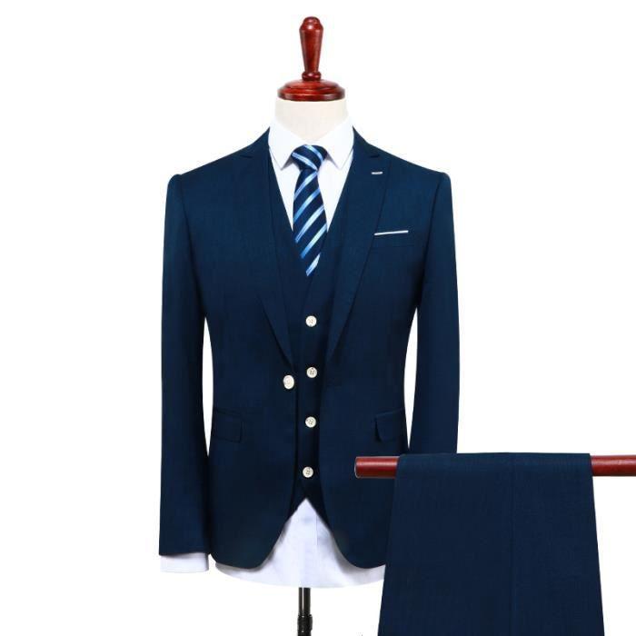Costume Homme 3 pièces SLIM FIT D affaire Mariage Suit Bleu marine ... f38c7c0a54b