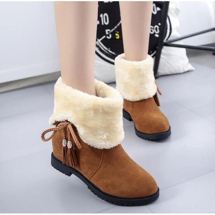 Les nouvelles bottes d'hiver pour les femmes plates solides Trench Fashion Bottes Bow Chaussures Neige, Nouvelles Bottes