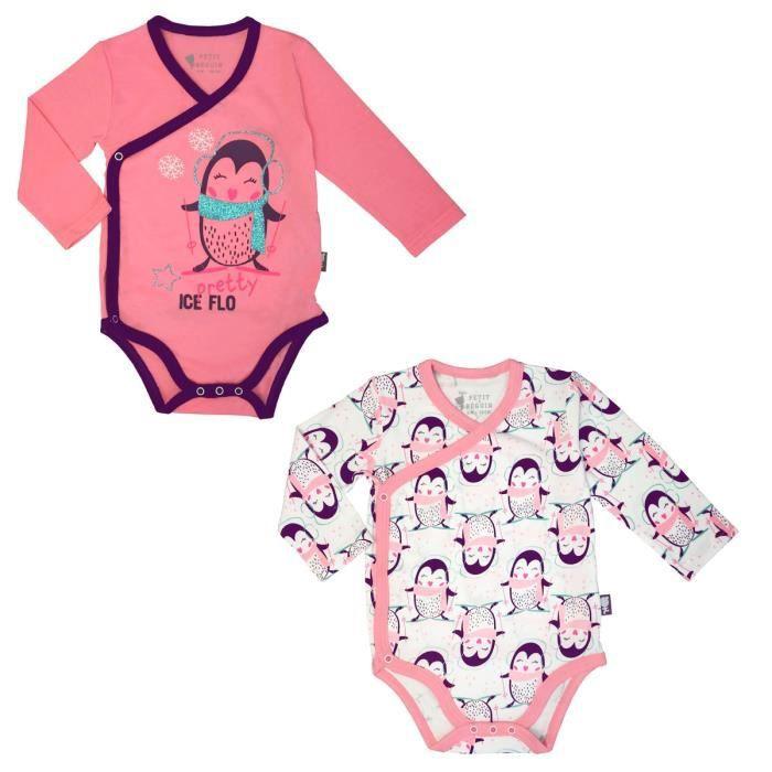 f2ecb2f7b3f8 Lot de 2 bodies manches longues bébé fille Pretty Ice - Taille - 1 mois (56  cm)