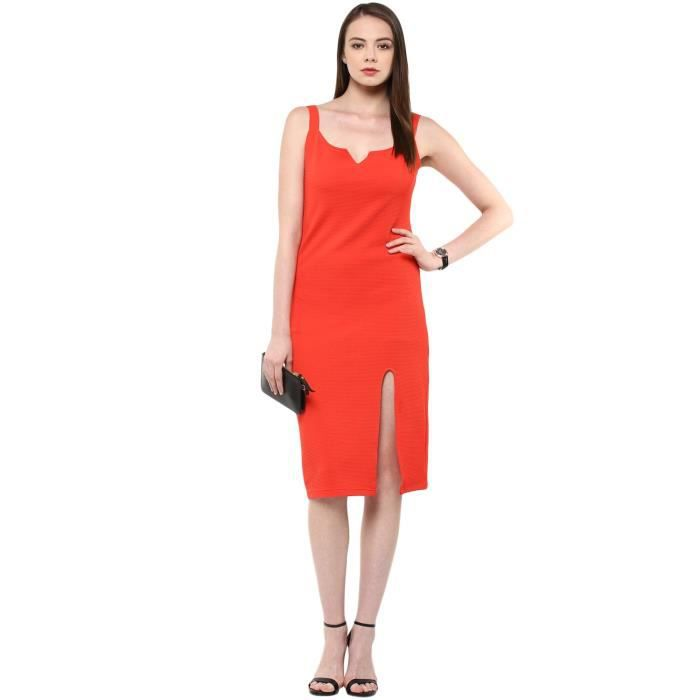 Lycra Rouge Poly Femmes Robe moulante S35XS Taille-40
