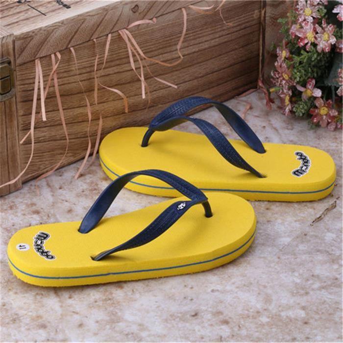 Chaussures Tongues marron Femmes Bleu Luxe Confortable jaune Marque Taille Qualit Tongs Couleur Respirant Plus Ete Meilleure Antidrapant noir De AjR534Lq