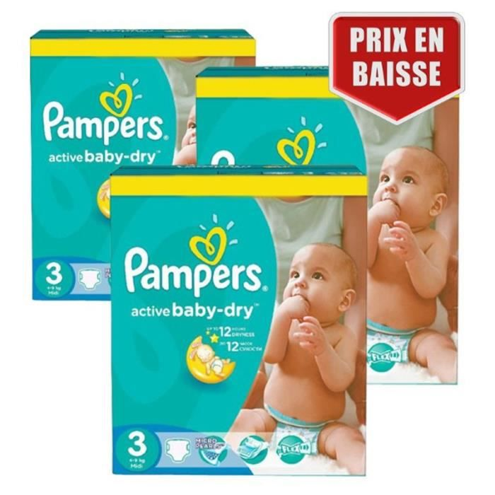 COUCHE Giga Pack 432 Couches Pampers Active Baby Dry tail