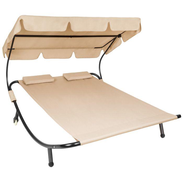 Chaise Soleil Places Pare Avec Coussins 2 Longue Beige Et Tectake CedxorB