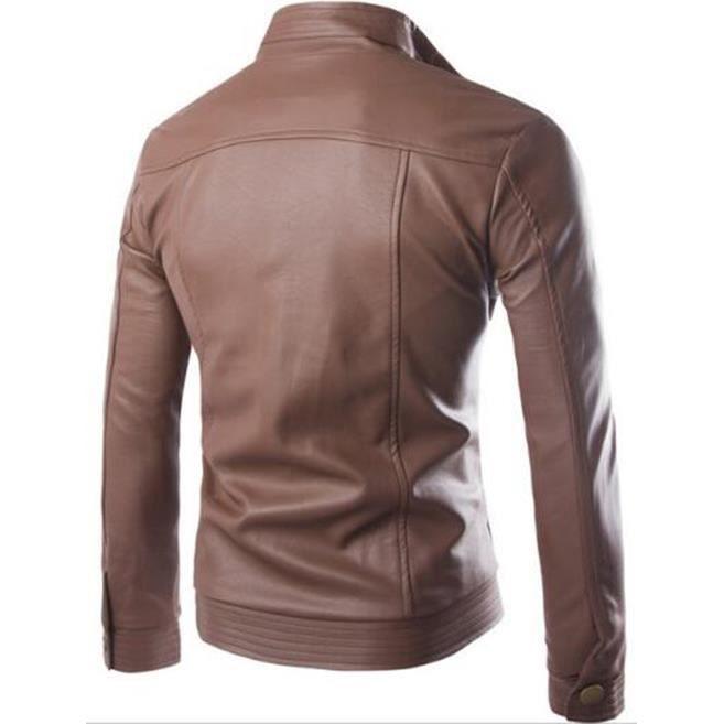 2017 Nouveau Jacket coffee Cuir Automne Blouson 2 5 Couleurs En Moto Tailles Manteau Homme Casual Outaking Noir Veste Mode dHq5d