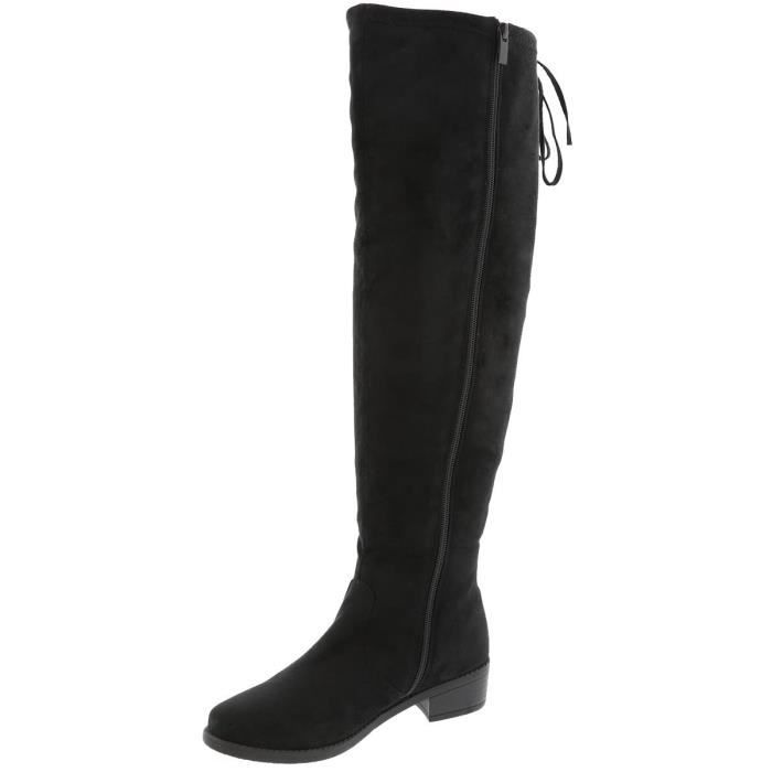 Over The Knee Drawstring Chunky Stacked Block Heel Bottes E3JK6 Taille-40