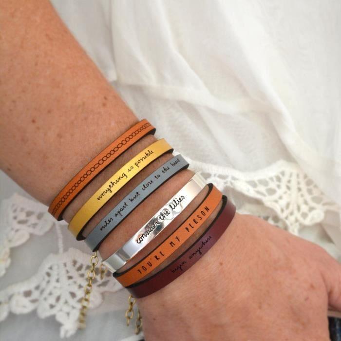 Grateful Brown Bracelet Citation en cuir pour femmes | Laurel Denise KM847