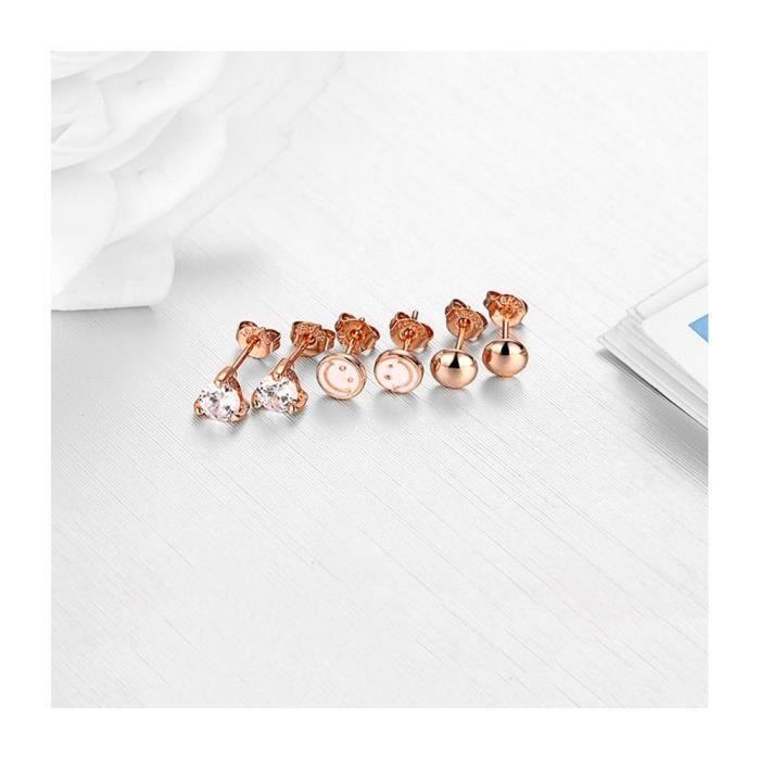 Coffret de 3 Paires Boucles dOreilles Femme en Plaqué Rhodium couleur Or rose, Smiley et Cristal Blanc - Blue Pearls