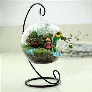 VASE - SOLIFLORE  Verre Clair Rond Avec 1 Trou Fleur Plante Stylet