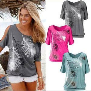 T-SHIRT Européen Sans bretelles Tee Shirt Femme Feather...