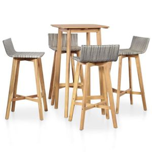 Bar d\'extérieur en bambou 2 tabourets inclus - Achat / Vente salon ...