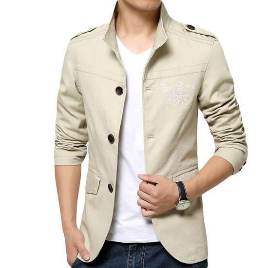 separation shoes f13e2 9b0b8 Vêtement En Imprimé Col A Uni La Mode Casual Masculin 100 Homme Coton  Standup Veste Slim AzqSxawYa