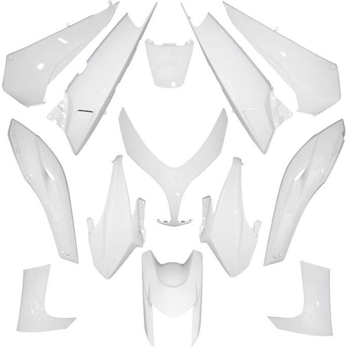 carrosserie/carenage maxiscooter adaptable yamaha 500 tmax 2008>2011 blanc brillant (kit 13 pieces) -p2r-