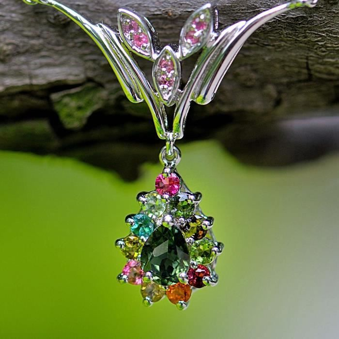 5.99ct pierre naturelle coloré Tourmaline goutte deau en argent Sterling collier