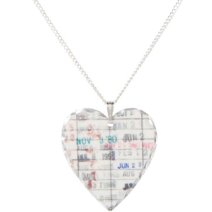 Womens Library Due Date Necklace - Bookworm Gift - Heart Pendant Chain Necklace K4SS9
