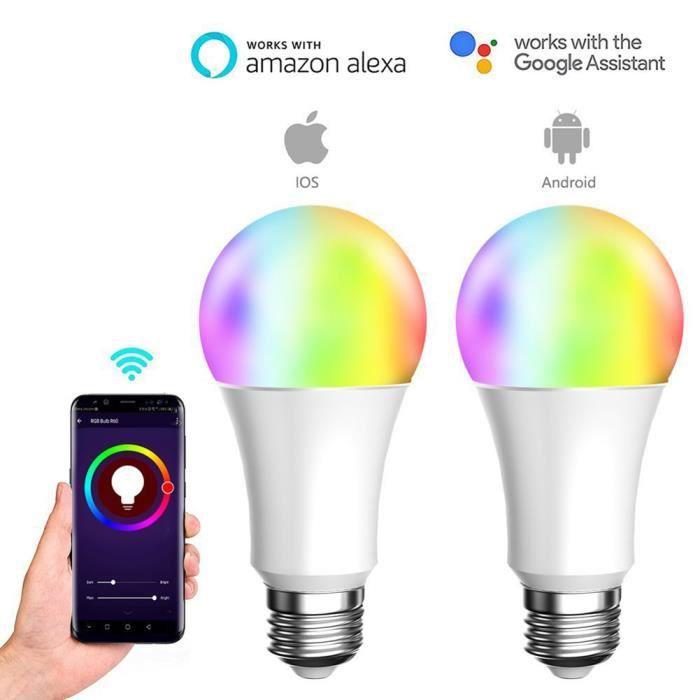 Stars® Intelligente E27 Ampoule Changement Led Wifi 9w Rgb De Couleur Connectée Télécommande lFK1Jc