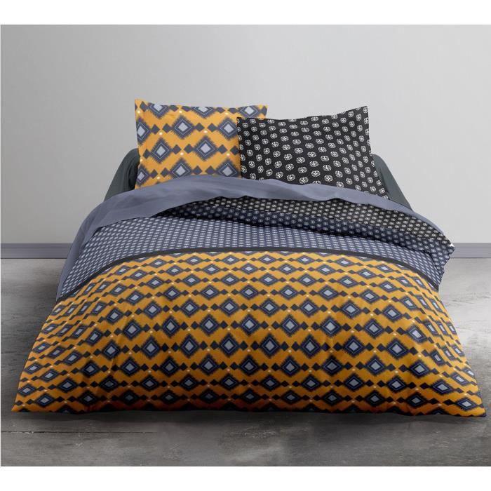 housse de couette 220x240 mokaite 100 coton 57 fils bleu. Black Bedroom Furniture Sets. Home Design Ideas